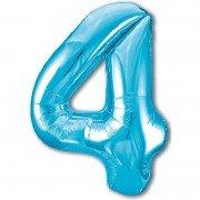 Шар цифра 4 голубого цвета