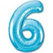 Шар цифра 6 голубого цвета