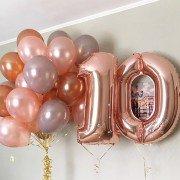 Набор шаров 10 лет цвета розовое золото