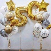 Шарики на 50 лет с золотыми звездами