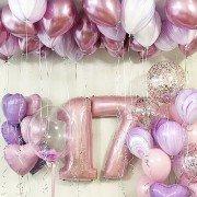 """Шары 17 на день рождения """"Букет сирени"""""""