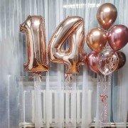 """Шары на день рождения девочке 14 лет """"Розовое золото"""""""