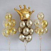 Фонтан шаров с золотой короной