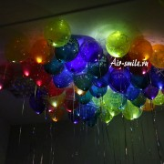 """Шары под потолок светящиеся """"С днем рождения"""" 10 шт."""