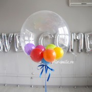 Воздушный шар баблз с цветными шариками внутри