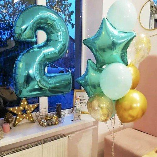 Шарики на день рождения 2 года с цифрой