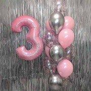 """Шарики воздушные на 3 года девочке """"Нежность розового"""""""