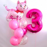 """Шары на 3 года девочке """"Розовый котенок"""""""