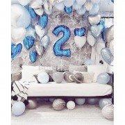 2 года оформление шариками белых и синих оттенков