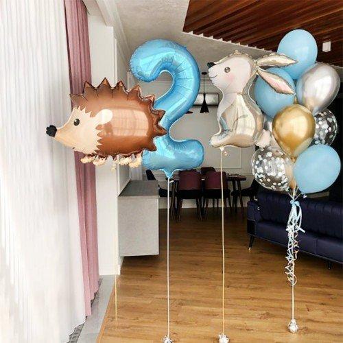 Гелевые шары на 2 года с зайчонком