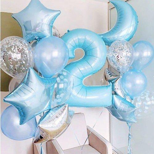 2 года оформление шариками голубого цвета