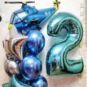 """Шары для мальчика на 2 года """"Синий вертолет"""""""