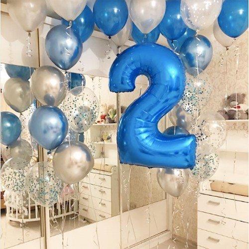 Шары на два года синего цвета в подарок