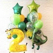 Шары на день рождения 2 годика Динозавр и Жираф