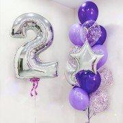 Шары на день рождения 2 годика фиолетового цвета