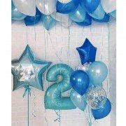 """Воздушные шары на 2 года мальчику """"Сапфировое море"""""""