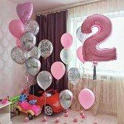 """Композиция из шаров на 2 года девочке """"Краски"""""""