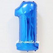 Фольгированная цифра 1 синего цвета с гелием