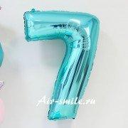 Фольгированная цифра 7 бирюзового цвета с гелием