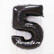 Фольгированная цифра 5 чёрного цвета с гелием