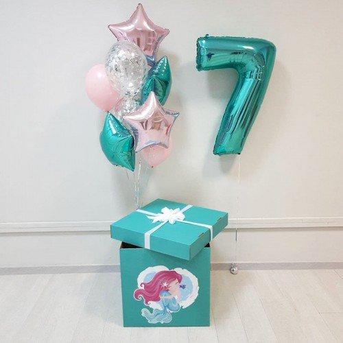 Шарики в коробке-сюрприз в бирюзовом цвете с изображением русалочки