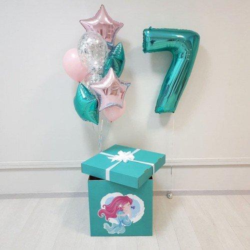 Воздушные шары для девочки на семилетие в бирюзовом цвете