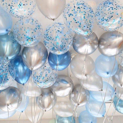 Шарики под потолок на выписку для мальчика микс хром синий серебряный и конфетти
