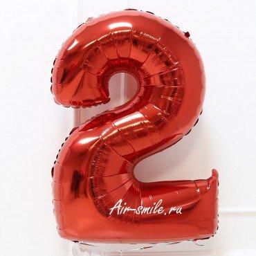 Фольгированная цифра 2 красная
