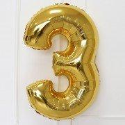 Шар цифра 3 золотого цвета