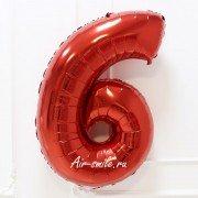 Фольгированная цифра 6 красного цвета