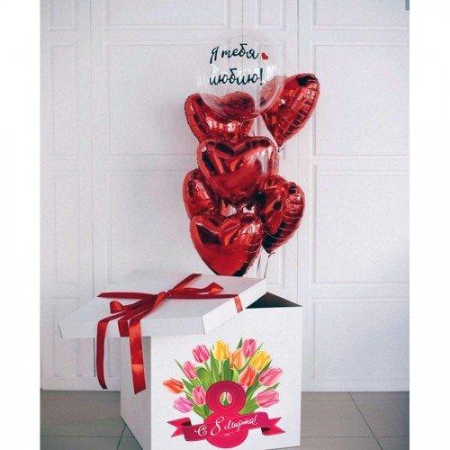 Коробка сюрприз для любимой на 8 марта с шариками