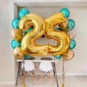 Комплект шаров на юбилей 25 лет в золотых оттенках