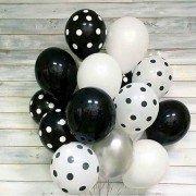 """Комплект шаров в горошек """"Черно-белый стиль"""""""