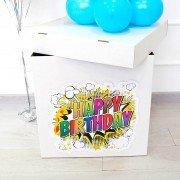 Коробка для воздушных шаров на день рождения с наклейкой