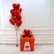 "Коробка с шарами на 14 февраля ""Моему мишке"""