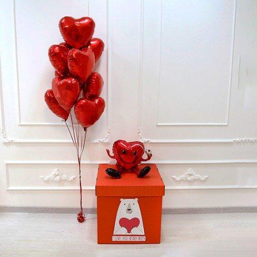 Коробка с шарами на 14 февраля