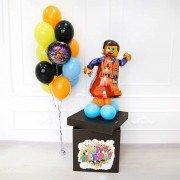 Шары в коробке на день рождения с Лего Эмметом