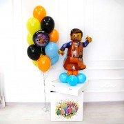 Шары для мальчика в стиле Лего в коробке