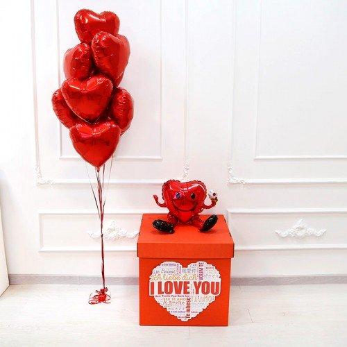 Шары воздушные для влюбленных в коробке сюрприз
