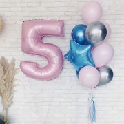 Букет из шариков на 5 лет в розовых тонах