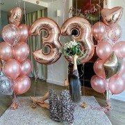 """Шары для девушки на день рождения """"Розовое золото"""""""