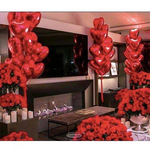 Пример украшения комнаты шарами на 14 февраля