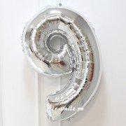 Фольгированная цифра 9 серебряного цвета с гелием