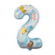 """Фольгированная цифра 2 голубая """"Зверюшки с шарами"""""""