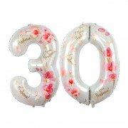 Фольгированный шар на юбилей - цифра 30 на юбилей Орхидея