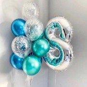 Комплект с шарами хром на 8 лет