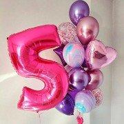 Букет из шаров на 5 лет фиолетовый