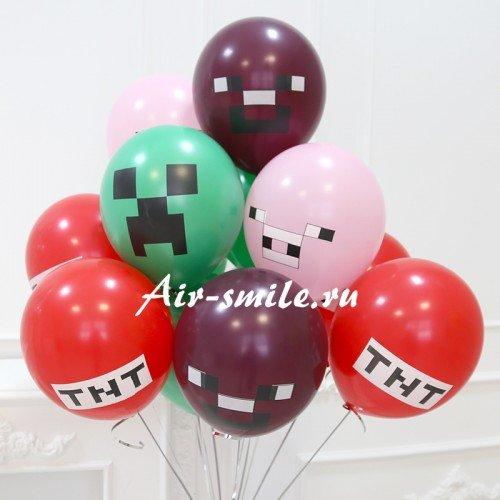 Гелиевые шарики с рисунком minecraft Майнкрафт