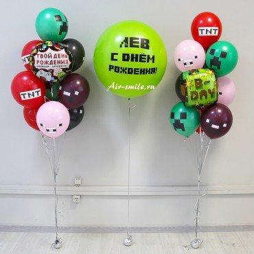 Композиция в стиле Майнкрафт из воздушных шариков готовая