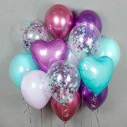 """Комплект шаров с сердцами """"Красочный"""""""
